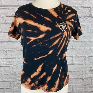 Raiders Football Team Custom Bleach Tie Dye Tee